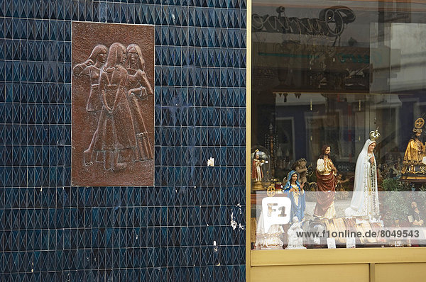 View of shop with religious items and tile relief  Ponta Delgada  Sao Miguel Island  Azores  Portugal