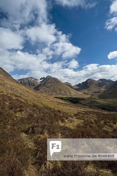 hoch  oben  sehen  Großbritannien  Tal  Ansicht  Argyll