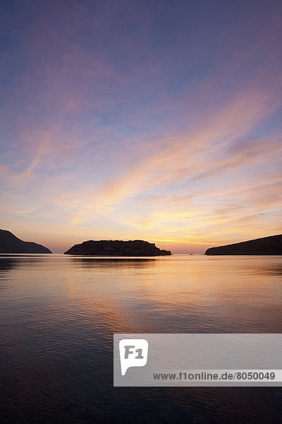 Silhouette  Morgendämmerung  Insel  Kreta  Griechenland