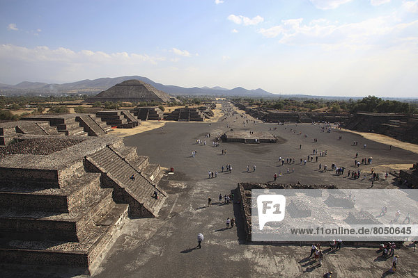 near Mexico city  Mexico  Teotihuacan archeological site  View from top of Pyramid of the Moon along Avenue of the Dead