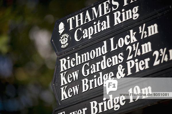 Wegweiser  Richmond Park  Richmond  London  England  Großbritannien