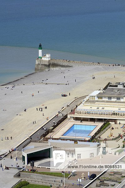 'Seaside in Le Treport : the lighthouse  the beach and the aqua complex of Le Treport on the ''cote d'Albatre'' (French coast) (76)'