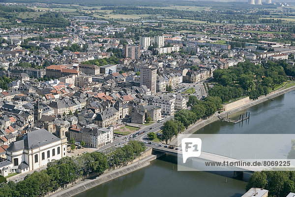 'Aerial view over the old part of the city of Thionville (57) with the town hall and the ''Tour aux puces'' tower.'