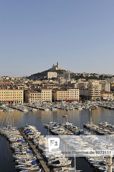 Real estate in Marseille (13) : view of the city with the Old Harbour and the hill of Notre-Dame de la Garde