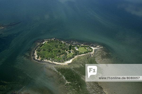nahe  über  Insel  Ansicht  Luftbild  Fernsehantenne  Morbihan