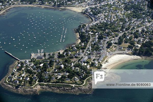 nahe  Hafen  über  Ansicht  Luftbild  Fernsehantenne  Morbihan  Halbinsel