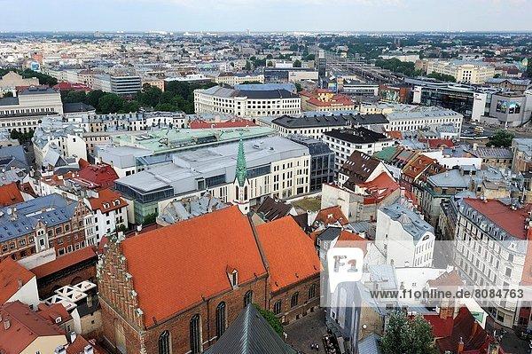 Kirche  Ansicht  Riga  Hauptstadt  Luftbild  Fernsehantenne  Lettland  Nordeuropa