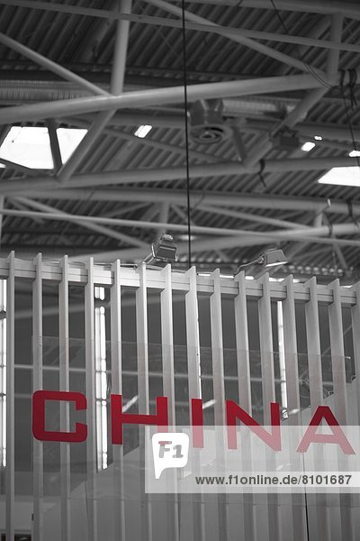 Wort China in einer Halle