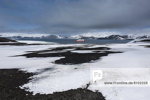 Vulkan  Anker werfen  ankern  Schiff  Unehrlichkeit  Insel  Kreuzfahrtschiff  Krater  Antarktis