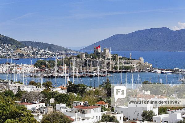 Turkey  Bodrum  View of island Kara Ada with Castle of St. Peter