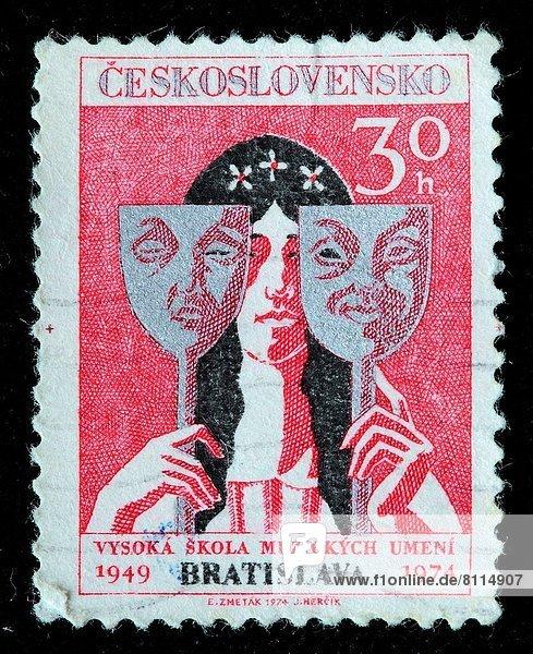 Humor  Unglück  Maske  Schauspielerin  Briefmarke