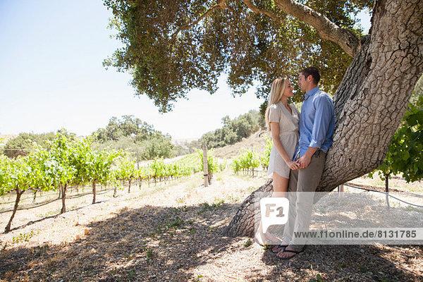 Junges Paar hält sich am Baum im Weinberg an den Händen