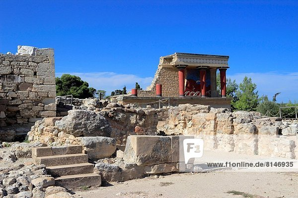 The Palace of Minos at Knossos  Heraklion  Crete  Greece.