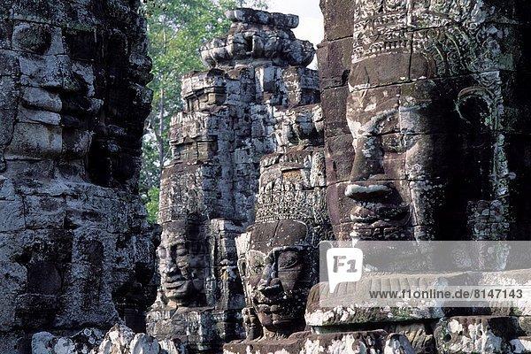 CAMBODIA  ANGKOR  ANGKOR THOM  BAYON TEMPLE  FACES OF AVALOKITECVARA.