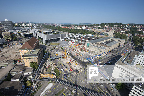 Stuttgart-21-Baustelle am Stuttgarter Hauptbahnhof  LBBW-Gebäude  Arnulf-Klett-Platz?