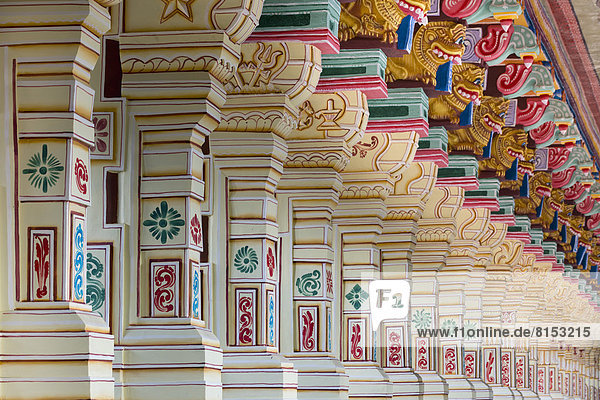 Colourfully painted columns  Ramanathaswami Temple