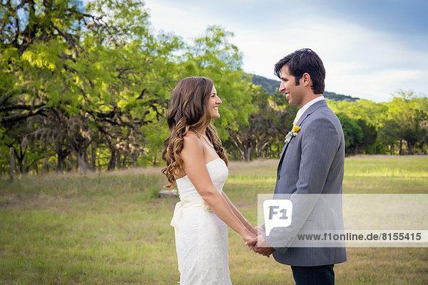 USA  Texas  Bride and groom at wedding ceremony