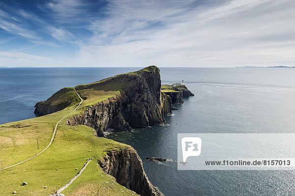 Großbritannien  Schottland  Blick auf Leuchtturm in Neist Point