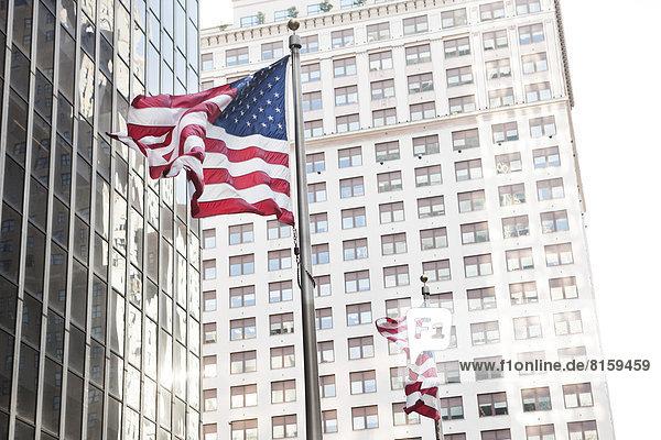 USA  New York  Ansicht der amerikanischen Flagge
