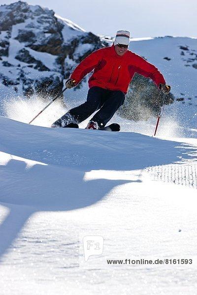 Man skiing  low angle view