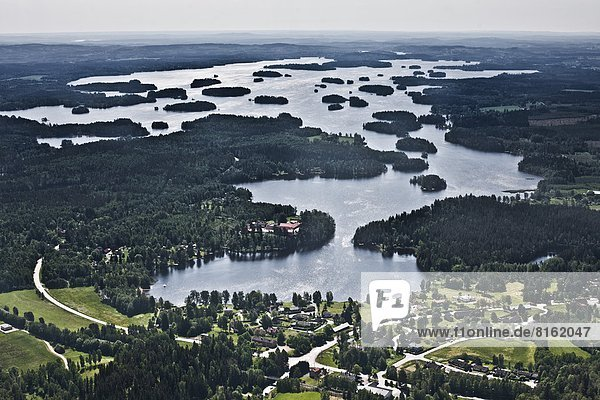 Aerial view of landscape with lake
