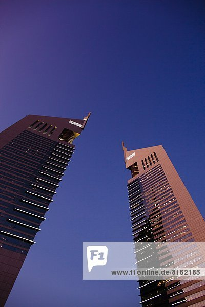 Low angle view of Dubai skyscrapers