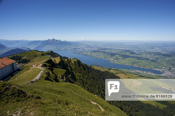 View from Rigi Cog Railway over Lake Lucerne