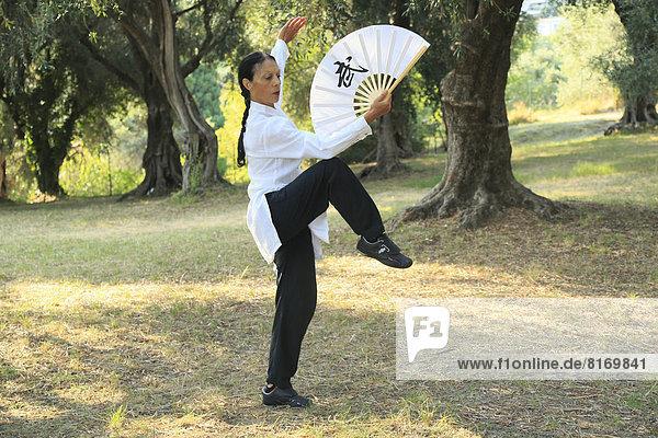 Tai-Chi mit Fächer  Demonstration in einem Olivenhain  Régine Zanini  zweifache Silbermedaillen-Gewinnerin Tai-Chi-Europameisterschaften 2012
