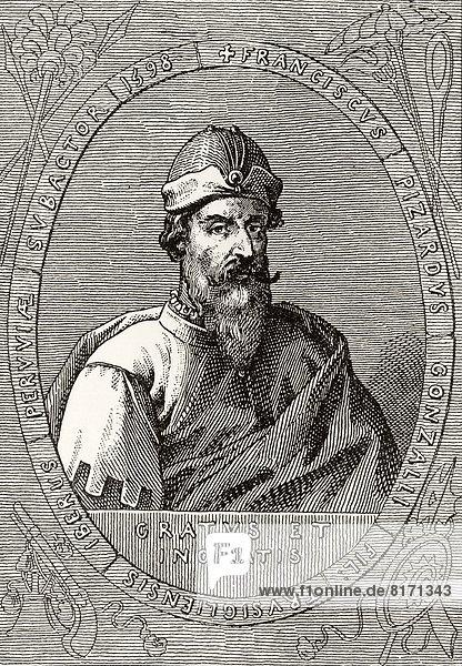 Francisco Pizarro González Circa 1471-1478 To 1541 Spanish Conquistador From A 19Th Century Engraving
