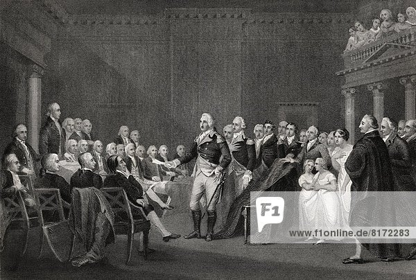 Washington Resigning His Commission At Annapolis 23 December 1783 George Washington 1732-1799 First President Of The United States From A 19Th Century Print Engraved By Rogers After Trumbull