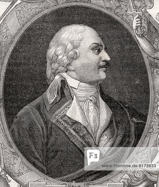 Auguste-Henri-Marie-Picot  Marquis De Dampierre  1756-1795. French General. Engraved By Pannemaker.From Histoire De La Revolution Francaise By Louis Blanc.