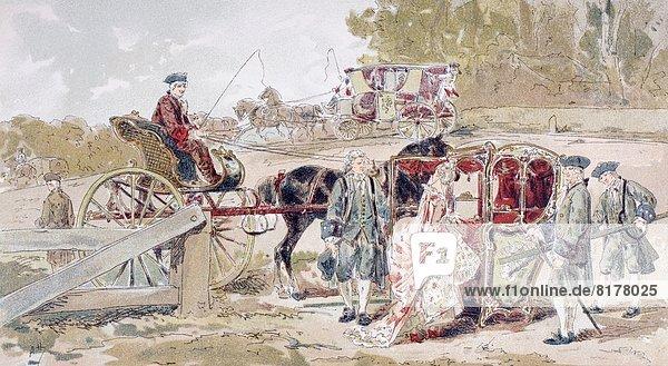 reinkommen Stuhl Transport Reichtum 2 Menschen im Hintergrund Hintergrundperson Hintergrundpersonen Zeichnung Das Achtzehnte Jahrhundert Sänfte