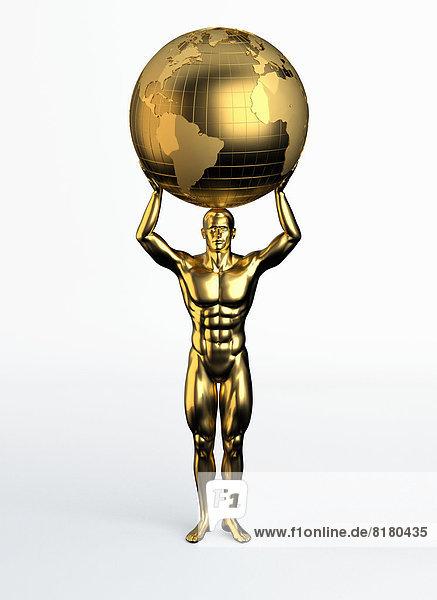 Goldene Statue eines Mannes mit Weltkugel