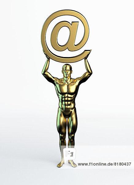 Goldene Statue eines Mannes mit at-Symbol