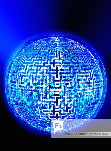 Labyrinth und Binärcode auf beleuchtetem Globus