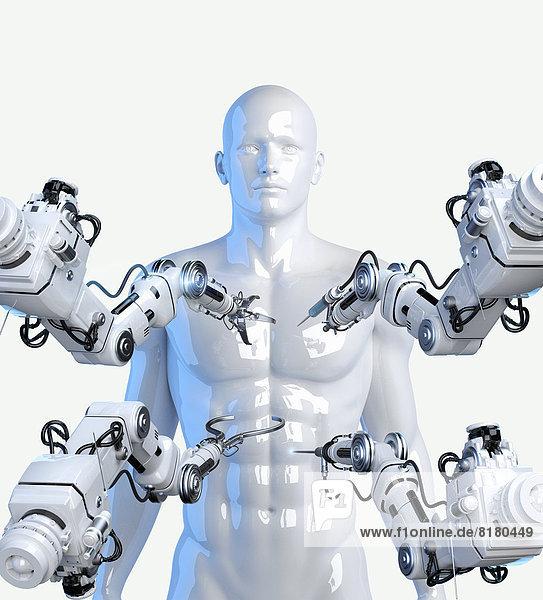 Roboterarm mit Werkzeugen an menschlichem Körper