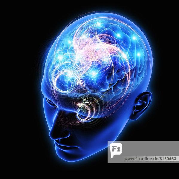 Funken und Aktivität in menschlichem Gehirn in blauem durchsichtigem Kopf