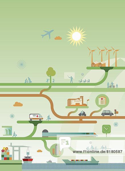 zwischen inmitten mitten Energie energiegeladen arbeiten Spiel Netzwerk gute Nachricht gute Nachrichten Dienstleistungssektor Diagramm