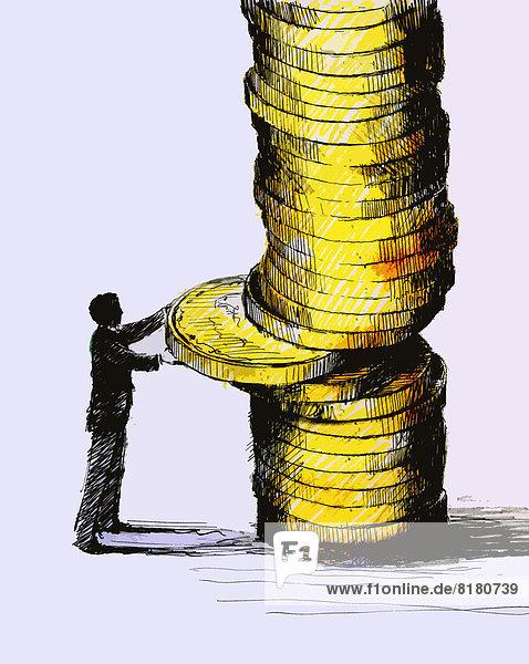 Stapel Geschäftsmann entfernen entfernt Mittelpunkt Geldmünze Felssäule