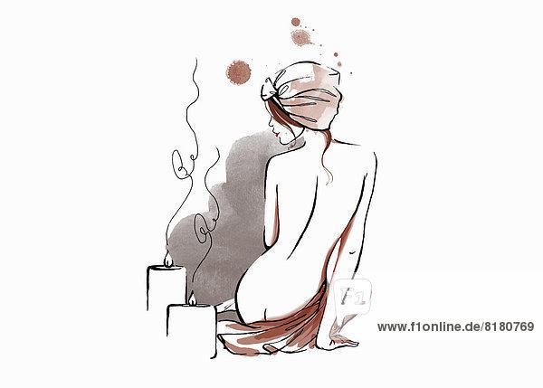 Rückansicht einer entspannten nackten Frau