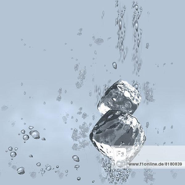 Eiswürfel fallen unter Wasser Eiswürfel fallen unter Wasser