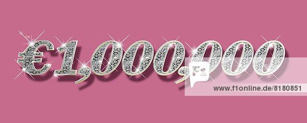 Glänzende Diamanten formen eine Million Euro auf pinkfarbenem Hintergrund