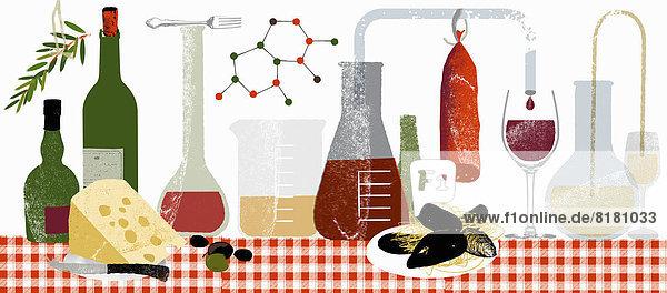 Moleküle und wissenschaftliche Experimente mit Lebensmitteln