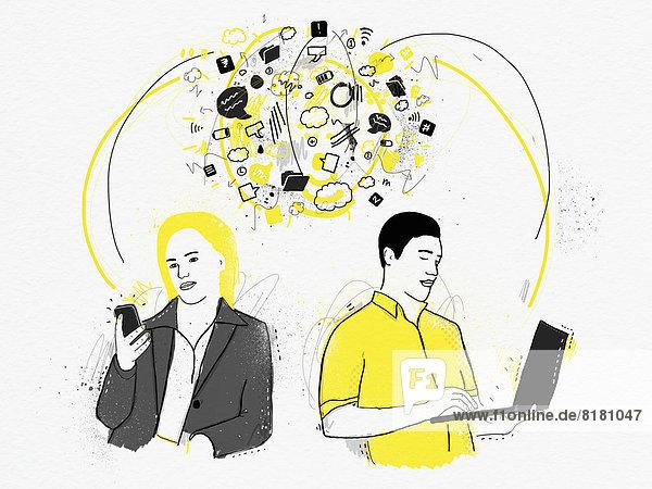 Mann mit Laptop kommuniziert mit Mann mit Smartphone