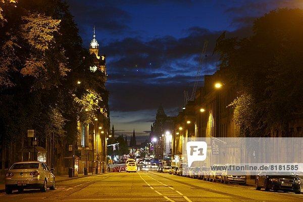 Europe  UK  Scotland Edinburgh  Princess street at night