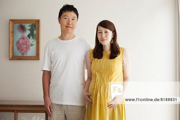 Pregnant woman with man  portrait