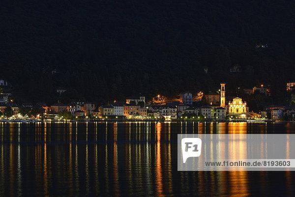 Nacht See Kirche Dorf Lugano Porto