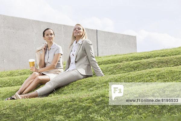 Stufe  sitzend  Geschäftsfrau  Entspannung  Himmel  Länge  Gras  voll