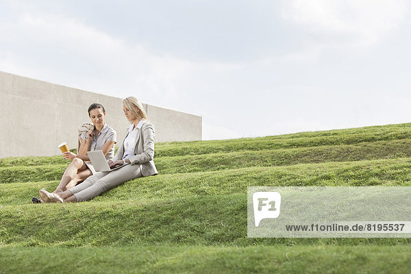 Stufe  sitzend  Geschäftsfrau  Tasse  Notebook  Himmel  Kaffee  Länge  Gras  Wegwerfartikel  voll