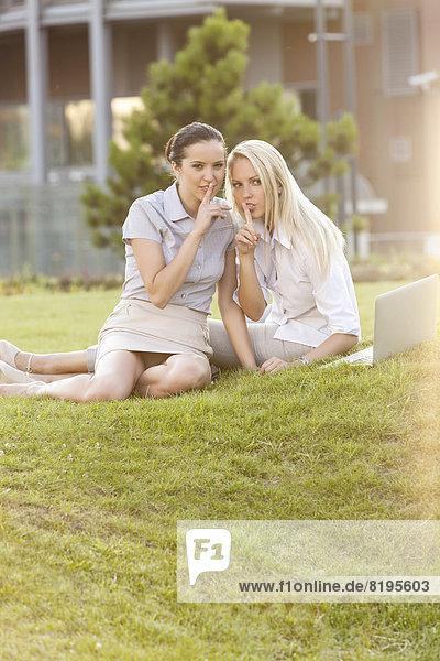 Geschäftsfrau  gestikulieren  Rasen  Stille  Büro  jung